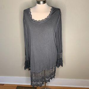 NWOT gray tunic top with lace detail